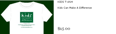 KidsCanMakeADifference.org t-shirt sales website screenshot